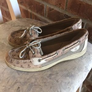 595b6151e68f7 Sperry anchor print slide on boat shoes Sz 8
